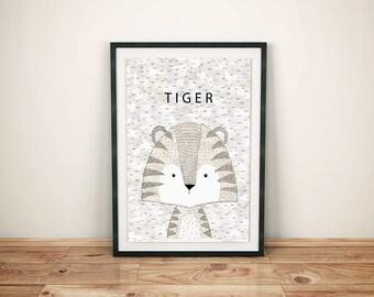 Printed Nursery Tiger-Nursery Tiger Print-Childrens Jungle Art-Printed Tiger Safari-Kids Tiger Print-Printed Kids Safari-Kids Safari Art