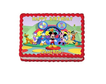 Mickey Mouse Clubhouse cake topper- Personalized free- Edible icing image, Mickey Mouse clubhouse birthday, toodles, hot dog dance