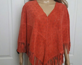 Vintage SuedeLeather Bohemian Festival 90s Womens  Poncho Indie