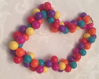 Vintage 1980's Bright Bubblegum Necklace
