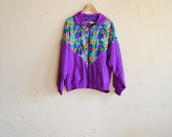 Vintage 80s 100% Silk Purple Floral Bomber Jacket / Windbreaker - Cassia - Women's Large