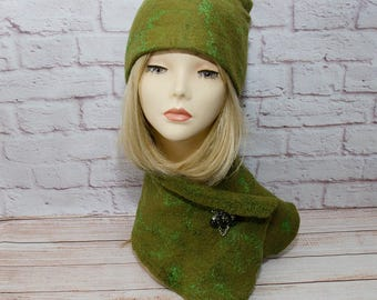 felting green winter hat felt hat green winter hat green beanie winter hat for women green slouchy beanie green winter beanie slouchy hat