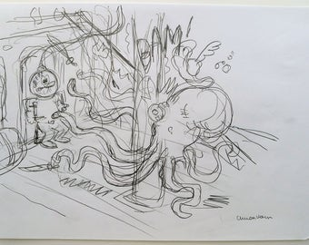 Original pencil sketch-The Godvrrgeten Island