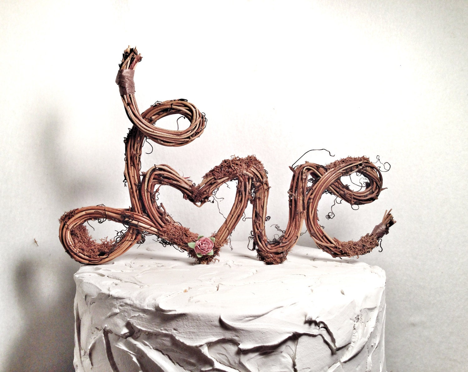 Handmade Grapevine Rustic Wedding Cake Toppers Love Letter