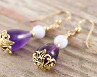 Teardrop amethyst dangle earrings with blue laced agate 14kt gold fill and vermeil leaf motif bead cap