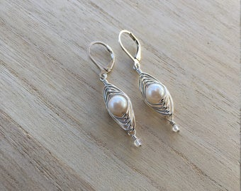Cultured Pearl Earrings with Swarovski Crystal Drops