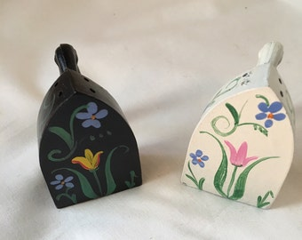 Vintage Hand Painted Cast Iron Salt and Pepper Shakers