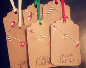 6 Christmas Banner Tags