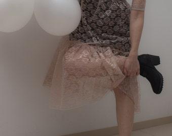 Beige knee length dress, lace / lace dress / beige dress / midi length dress / cocktail dress