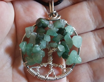 Tree of Life Pendant with Green Aventurine Chips