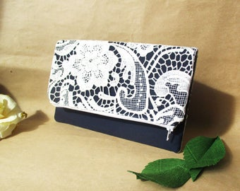 Navy bridesmaid clutch, lace clutch, folded clutch, clutches, navy clutch, zipper clutch, bridesmaids clutches, white lace bag, white lace
