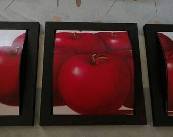 Apples, Set Of 3 Pieces - Cuadros de Manzanas, Set de 3 piezas