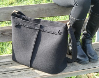 Casual elegant black bag, felt bag, wool bag, shoulder bag, Italian bag, shopper, shopping bag, made in Italy bag