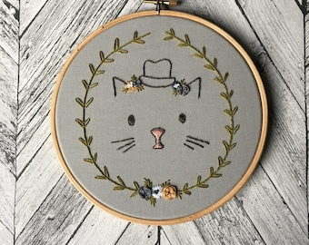 "Cat Illustration with Floral Hat Embroidery - 7"" Hoop"