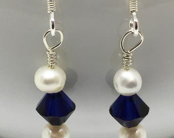 Freshwater Pearl and Dark Indigo Swarovski and Silver Earrings, Blue earrings, Drop Earrings, Dangle earrings, Pearl earrings, Genuine Pearl