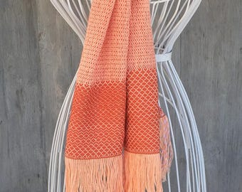 Scarf/Foulard woven in  salmon color  cotton, Scarf made in Spain, Scarf unique and original, Scarp woven by hand in a weaving loom