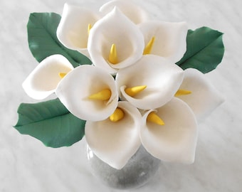 Small bouquet of calla lilies, handmade cold porcelain