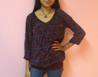 60s 70s Blouse With Tank Top - SMALL/MEDIUM - Women