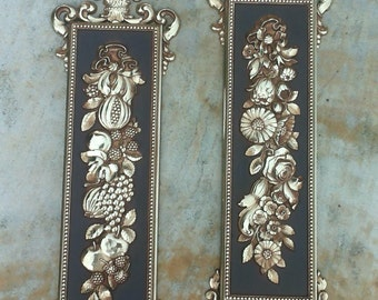 Set of 1970 Ornate Gold Fruits & Floral Syroco Wall Plaque, Hollywood Regency