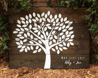 100 Leaves Rustic Wood Tree Guest Book | White on Wood | Guest Book Alternative