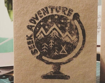 Seek Adventure A6 Lino Print Kraft Card with envelope, Birthday, travel, globe, camping, mountains, trees, organic, moving, snow, adventure