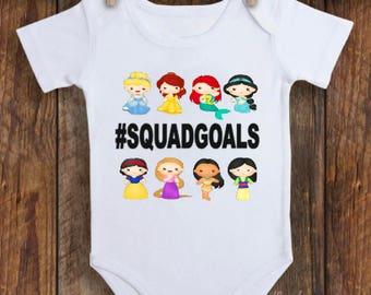 Disney princesses. Squad goals. Squad. Princess goals. Disney world. Disneyland.  Princess bodysuits. Princess shirt.