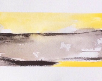Landscape watercolor yellow