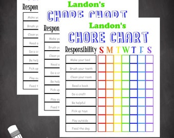 Printable chore chart, summer chore chart, editable document, kids chore chart, personalized chore chart, customizeable chore chart, colorul