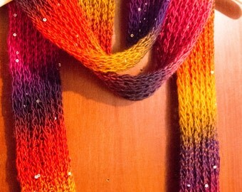 Ribbed Rainbow Scarf with Sequins