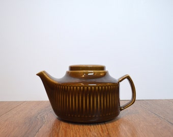 Egersund Norway Stoneware Pottery Brown Glazed Tea Pot with Tea Basket / Norwegian Scandinavian Design / Mid-Century / 1970s
