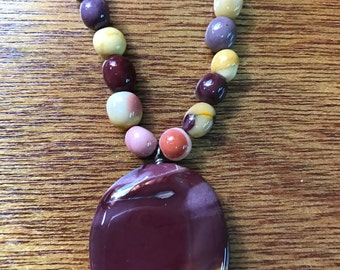 Mookaite Beaded Necklace With Mookaite Pendant