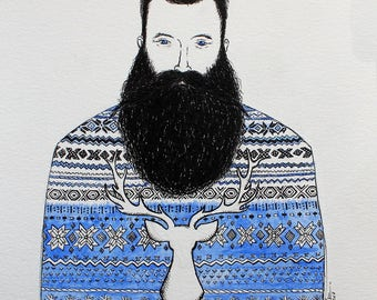 Norse man and his beard print.