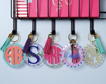 Monogram Keychain,  Personalized Keychain, Custom keychain Tassel Key Chain, Key Chain