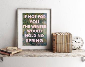 Music lyrics art print, Song Lyrics Wall Art, George Harrison, If Not for You, Fine Art, Monet, 8x10 Print