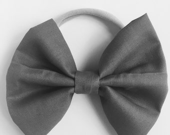 Nylon Bow Headband - Grey