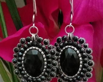 Pendant Earrings With Silver Tone