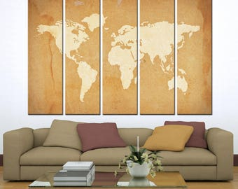 Large Send Abstract World Map Print Canvas/ 1,2,3,4 or 5 Panels Print on Canvas for Wall Art framed and ready to hang