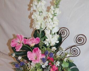 Silk Floral Table arrangement, Tropical floral//pink,green,white,purple,brown//Silk Floral
