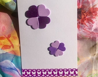 Handmade purple flowers/butterflies greeting/birthday/thank you/note/congratulations/invite/anniversary card