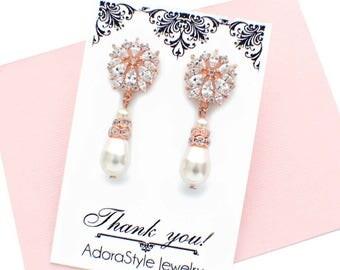 Rose gold pearl drop earrings, rose gold bridesmaid earrings, pearl bridal earrings, pearl bridesmaid earrings, pearl bridal jewelry