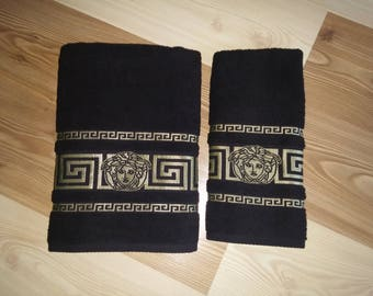 New embroidered inspired by versace towel black color