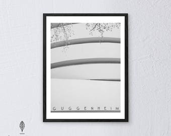 Guggenheim NYC| Eco-friendly Printable Art Instant Download. Black and White Modern Minimalist Print. Architecture Wall Art Poster.
