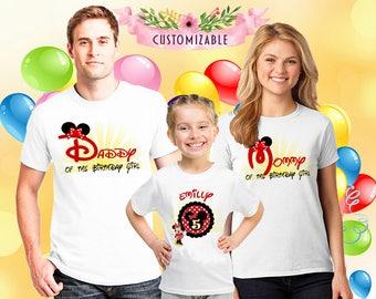 Minnie Mouse t-shirts for family members, birthday gift girls, custom girl t-shirt, birthday gift, family matching t-shirts,custom gift