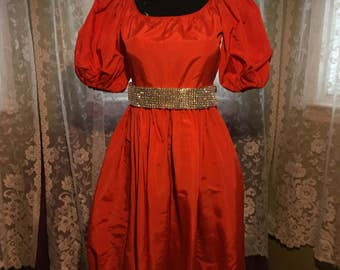 Orange Taffeta Puff Sleeved Dress