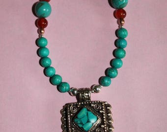 Tibetan-Style Turquoise and Coral Pendant with Turquoise and Agate Necklace