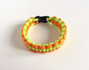 Paracord Bracelet  - Neon Orange and Neon Green