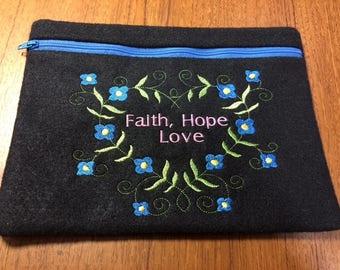Felt Cosmetic Bag, Make-up, Toiletries, Purse, Jewelry Bag, Travel Bag, Embroidery, Zipper,Faith Hope Love,  Not Lined