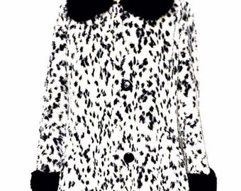 vintage faux dalmatian fur coat with matching hat