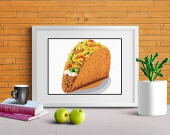 Taco Art, Kitchen Wall Decor, Food Lover Print, Canvas Option, Mexican Food, Foodie Fan, Fun Kitchen Print