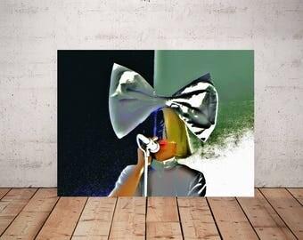 Sia Art, Sia Print or Canvas, Sia Isobelle Furler, Cool Sia Poster, Music Room Art, Bird Set Free Decor, Chandelier Singer Gift,Sia Hair Bow